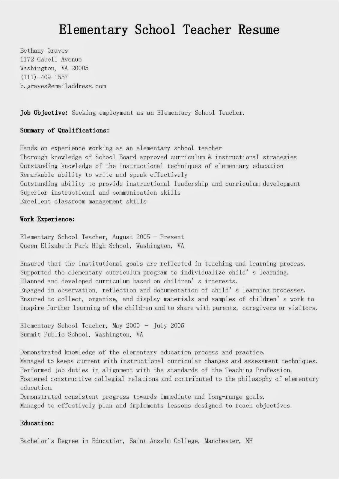 elementary school teacher resume sample