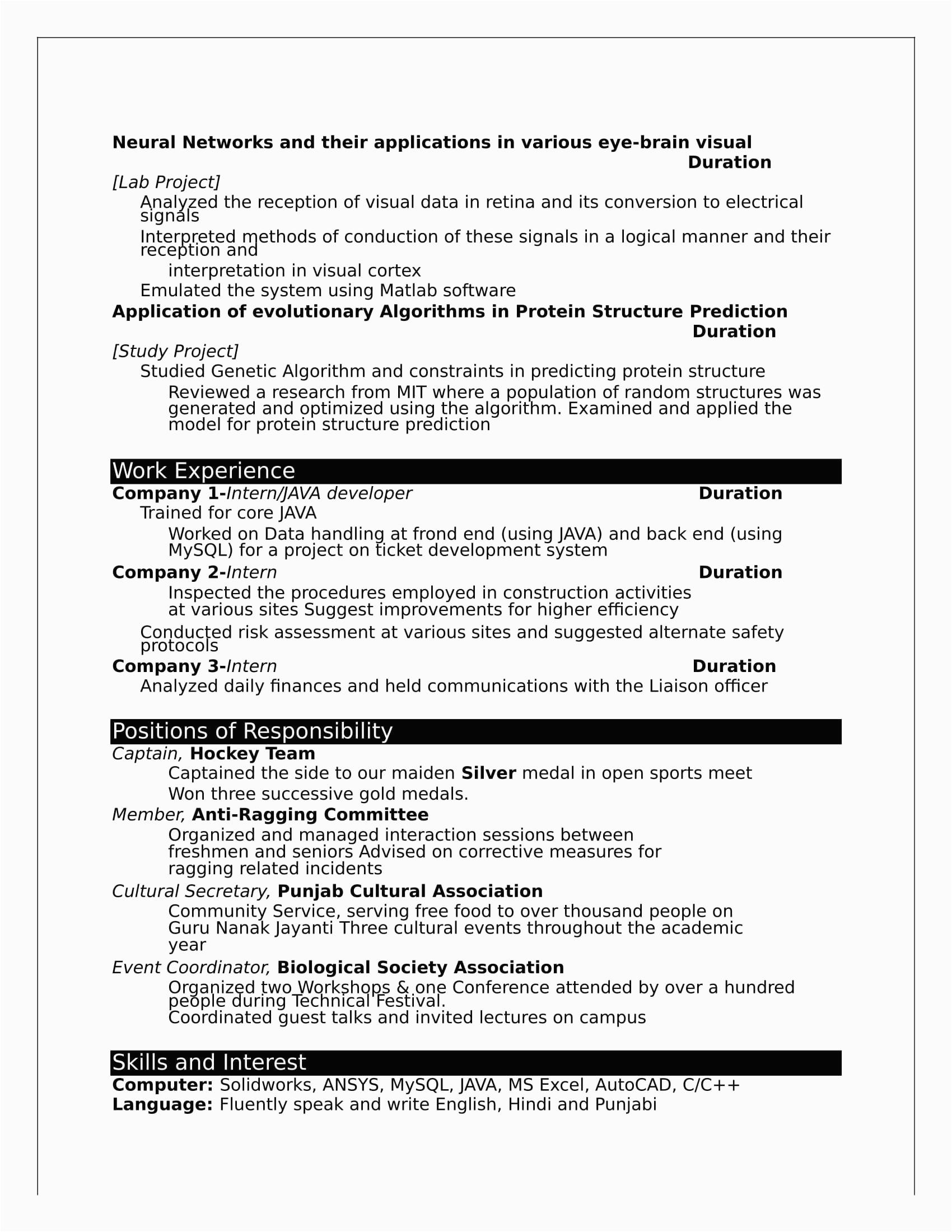 b tech fresher resume format doc