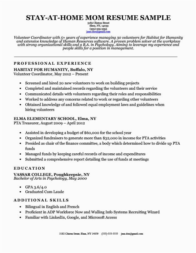 resume for stay at home moms returning
