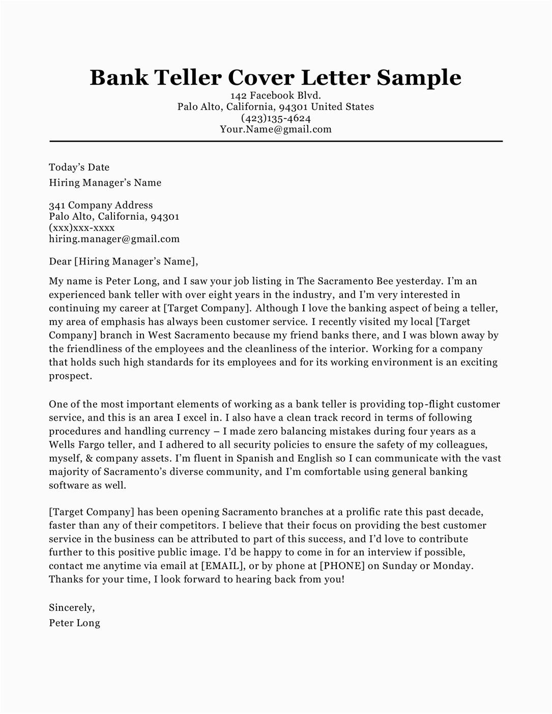 Bank Teller Resume Cover Letter Samples Bank Teller Cover Letter Sample & Tips