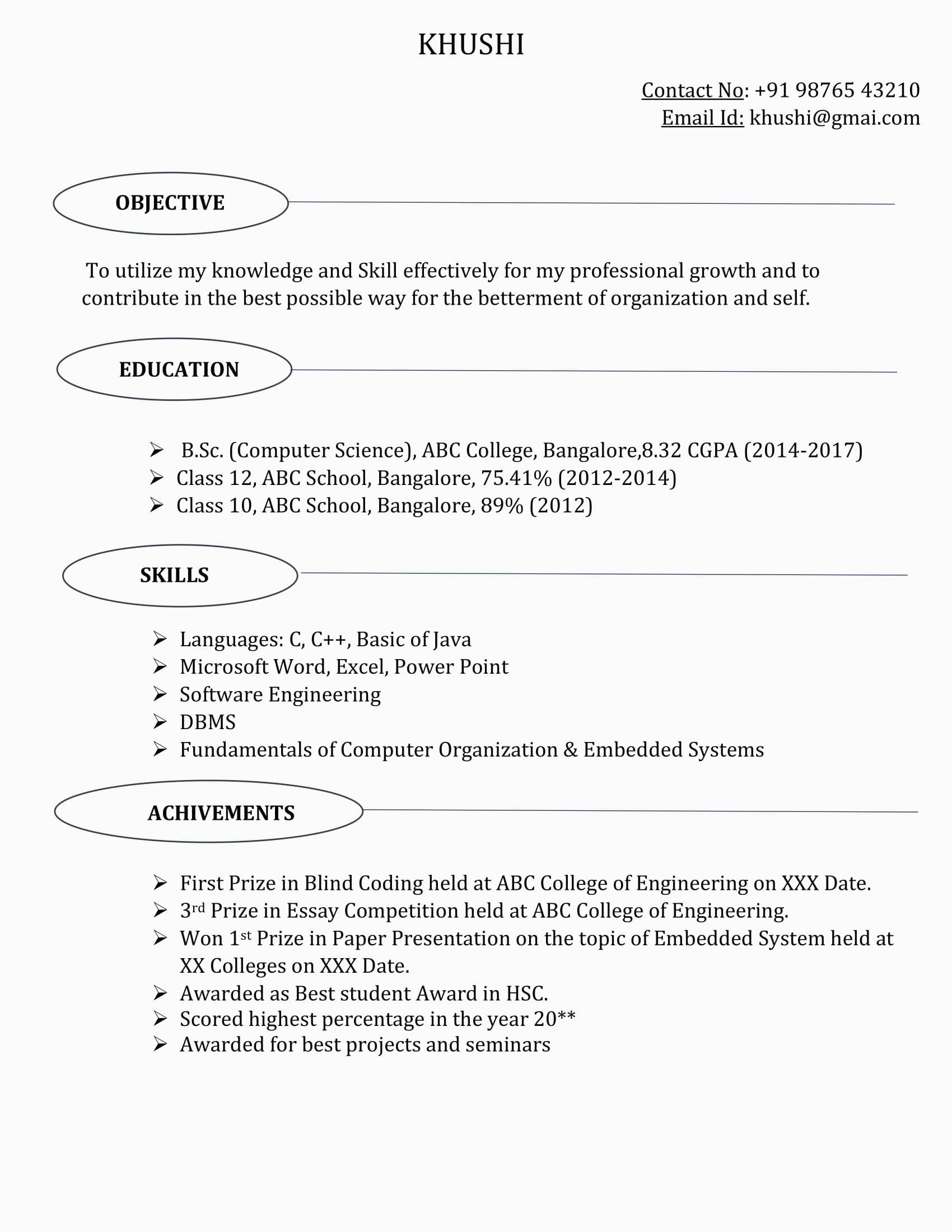 bsc puter science resume template 4