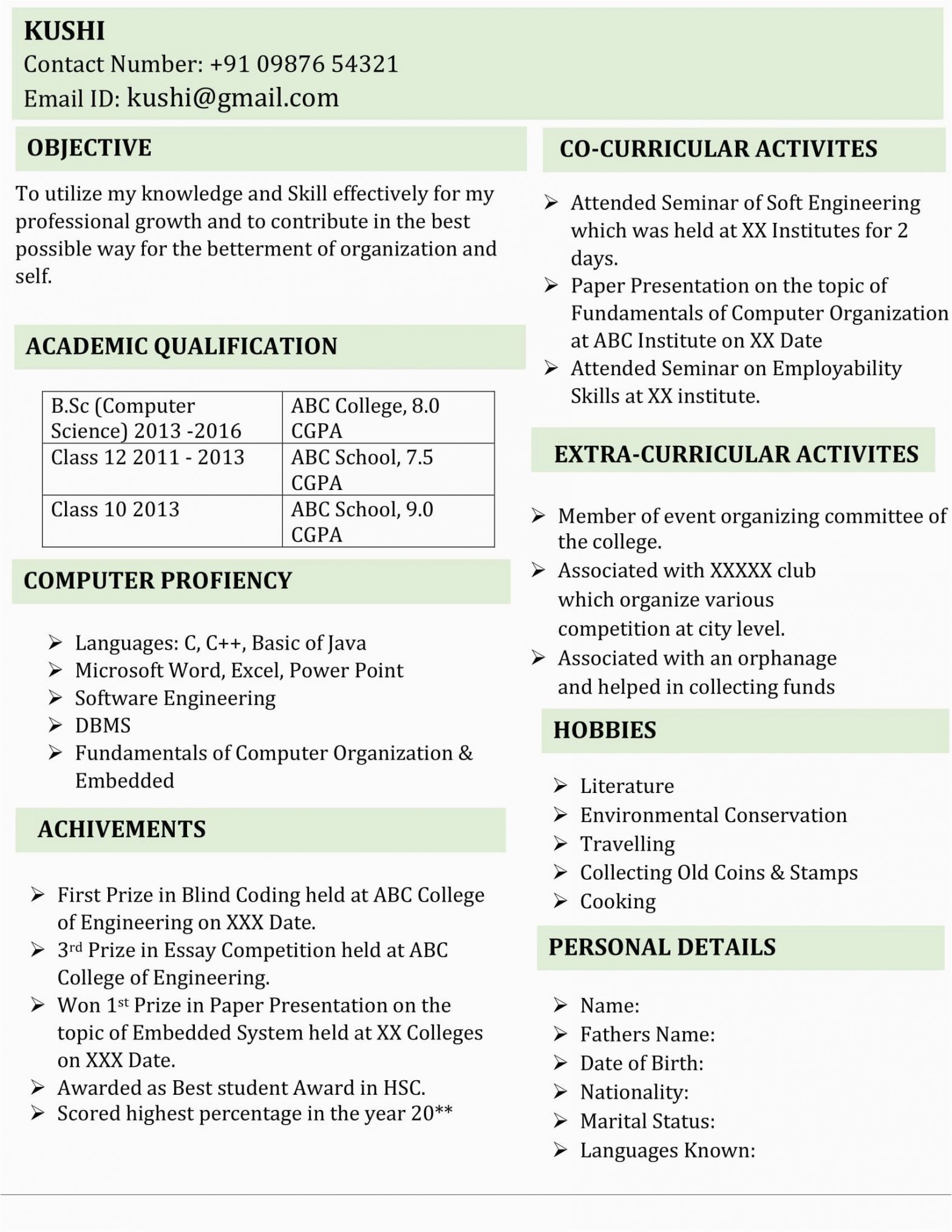 Be Computer Science Fresher Resume Sample Fresher B Sc Puter Science Resume Template 5 In Word