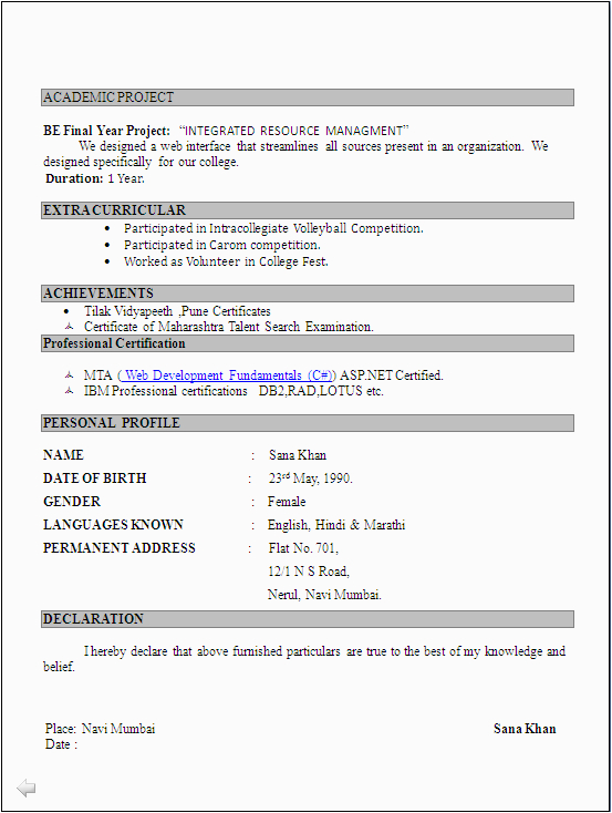 puter science fresher resume format