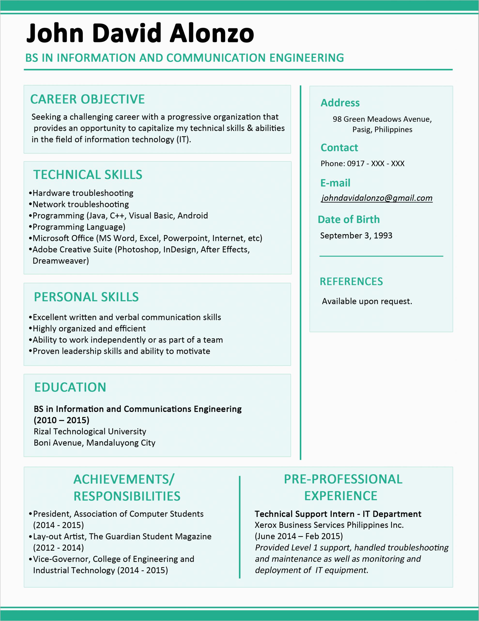contoh resume fresh graduate civil
