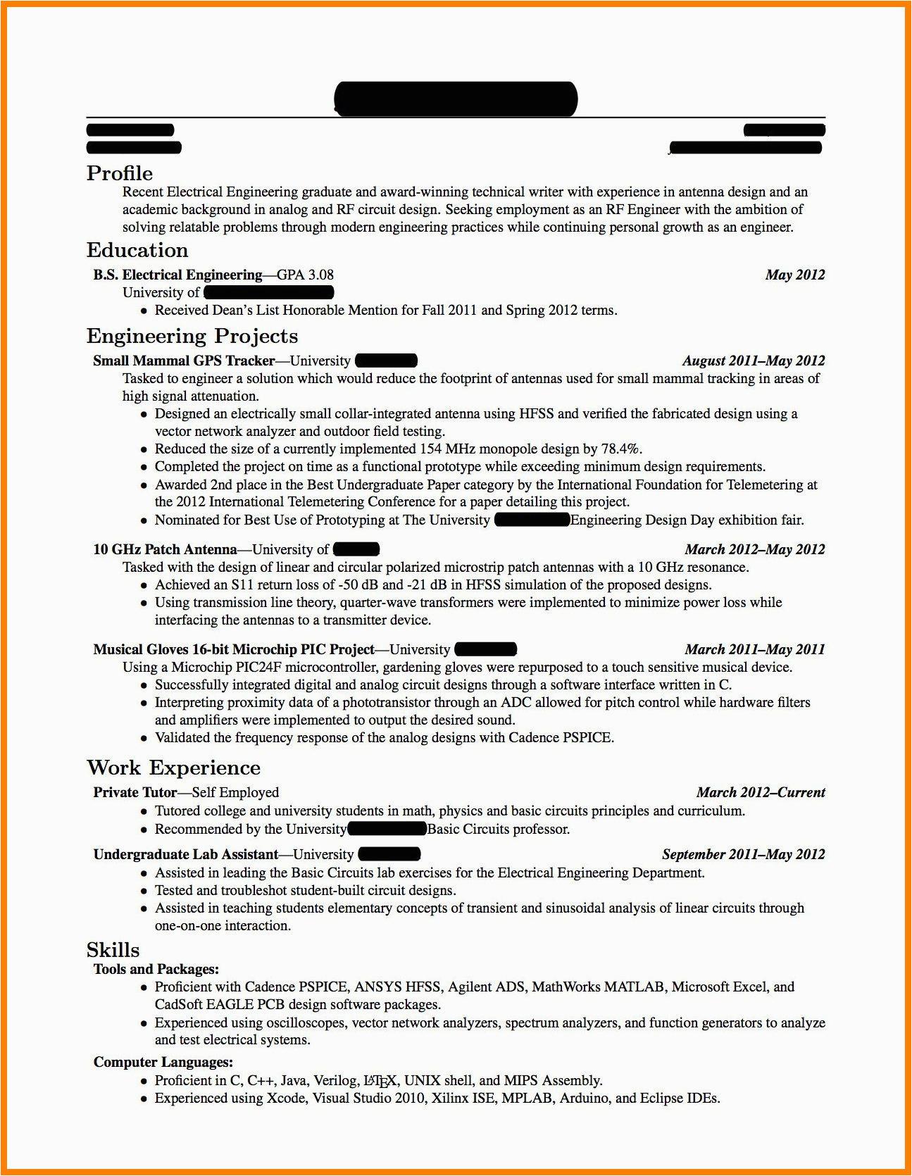 fresh graduate engineering resume sample
