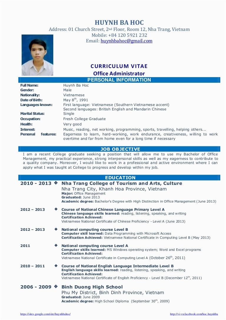 management resume sample philippines