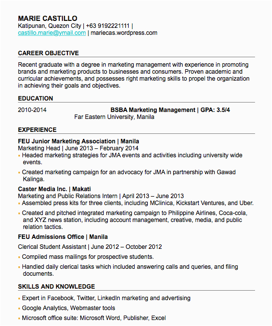 the best how to make resume for fresh graduate sample