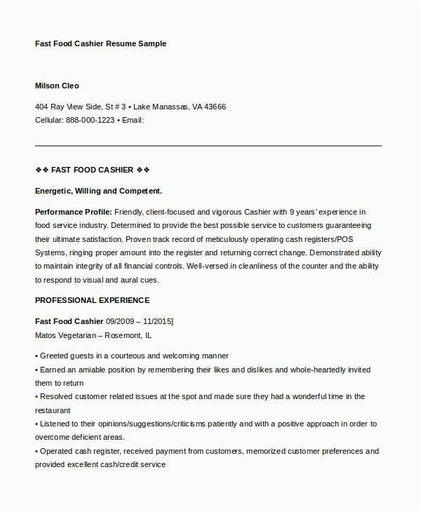 example cashier resume