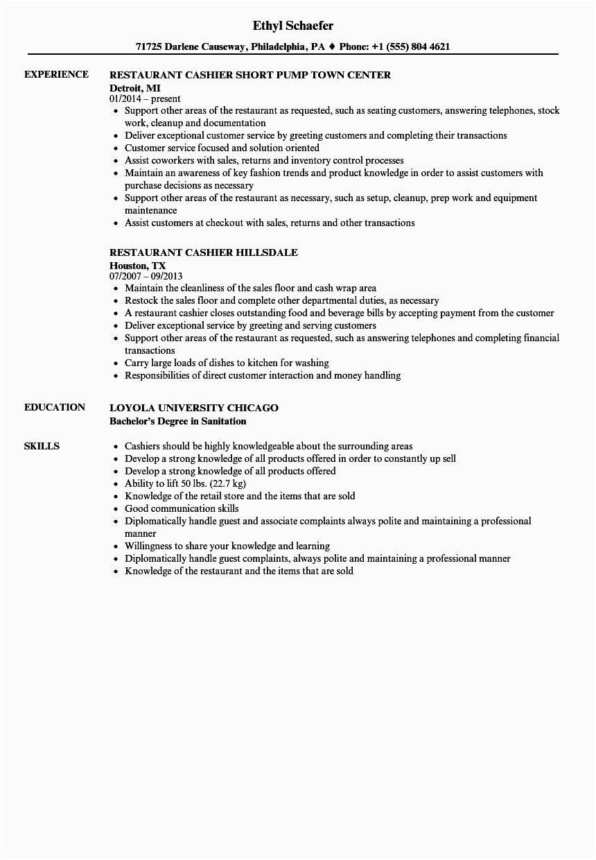 restaurant cashier job description