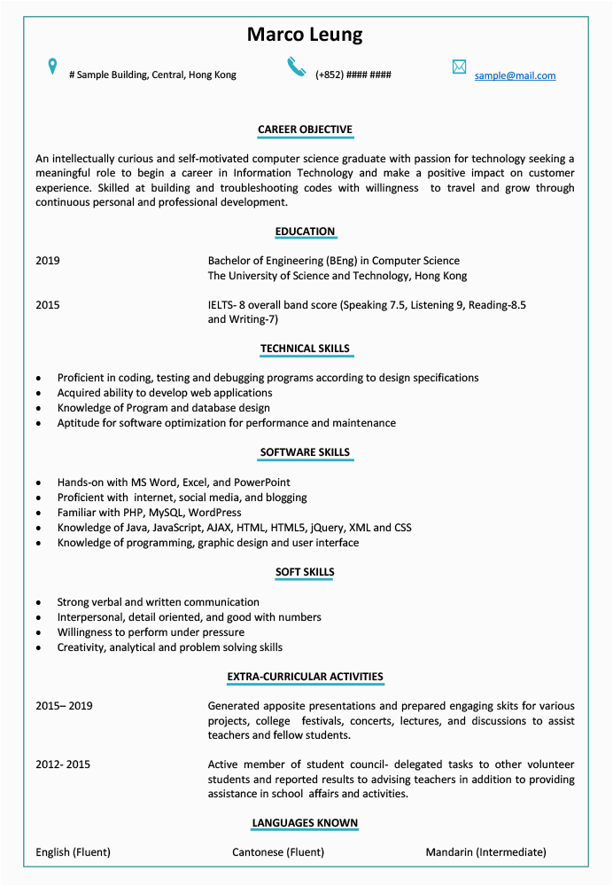resume cv sample for fresh graduate