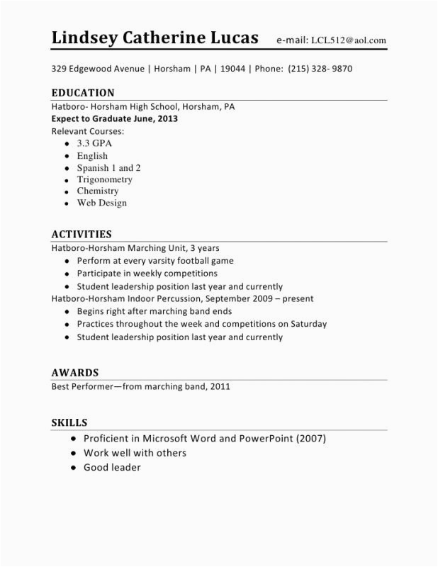 first resume example with no work