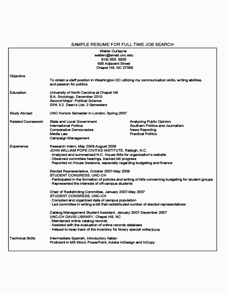 free first year student sample resume