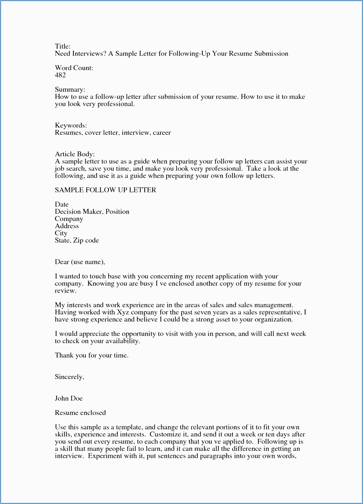 9 10 followup letter examples