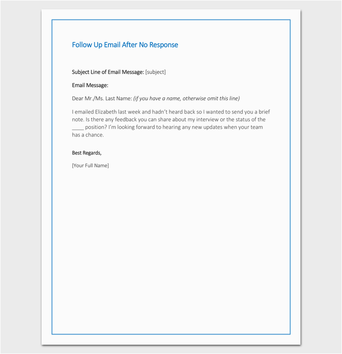 Follow Up Email after Resume Sent Sample Follow Up Letter Template 10 formats Samples