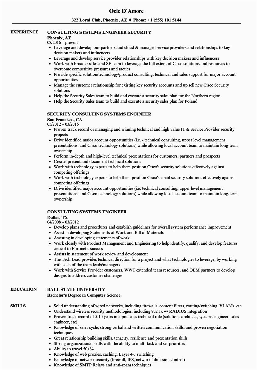 consulting systems engineer resume sample