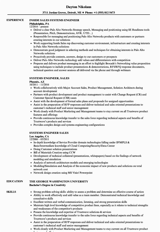 systems engineer sales resume sample