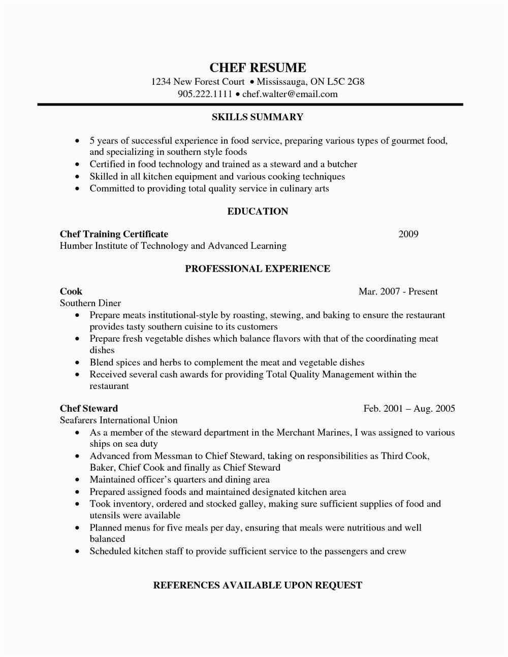 pastry chef cv template