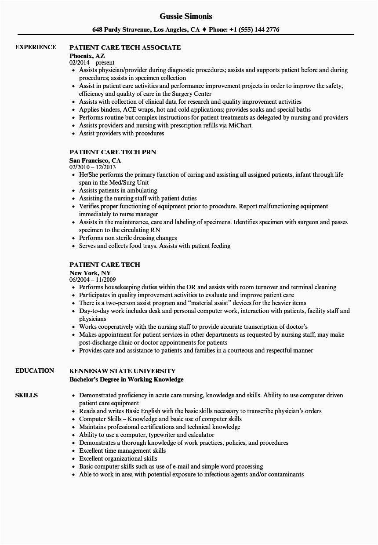 Patient Care Technician Pct Resume Sample Patient Care Technician Resume Examples Free Resume