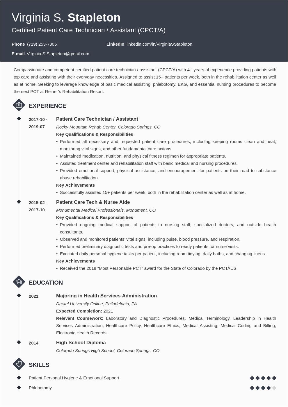 patient care technician resume example