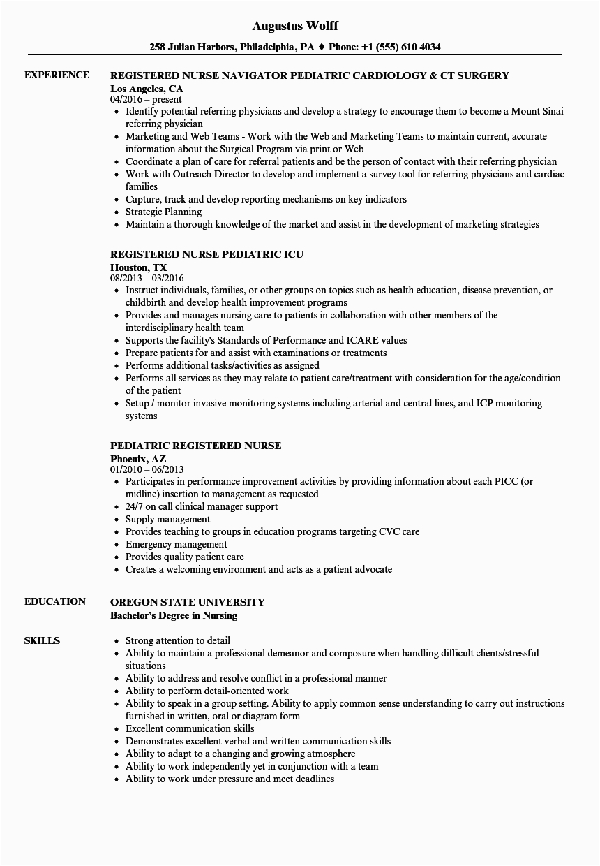 emergency room registered nurse resume