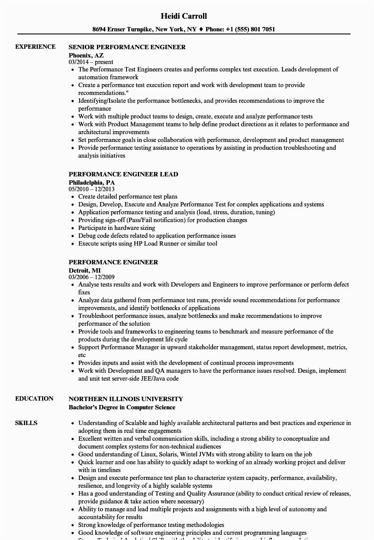 performance engineer resume sample
