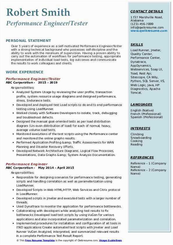 performance test engineer resume