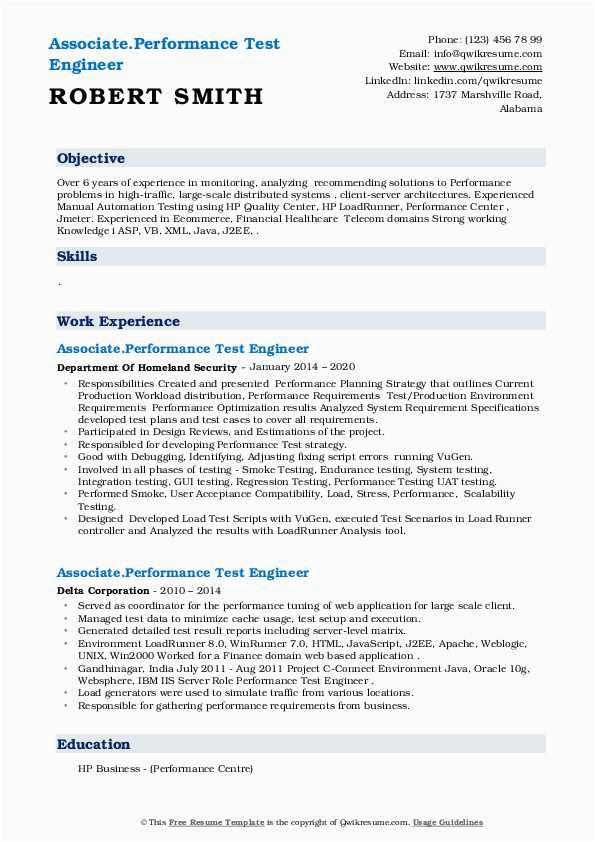 performance test engineer