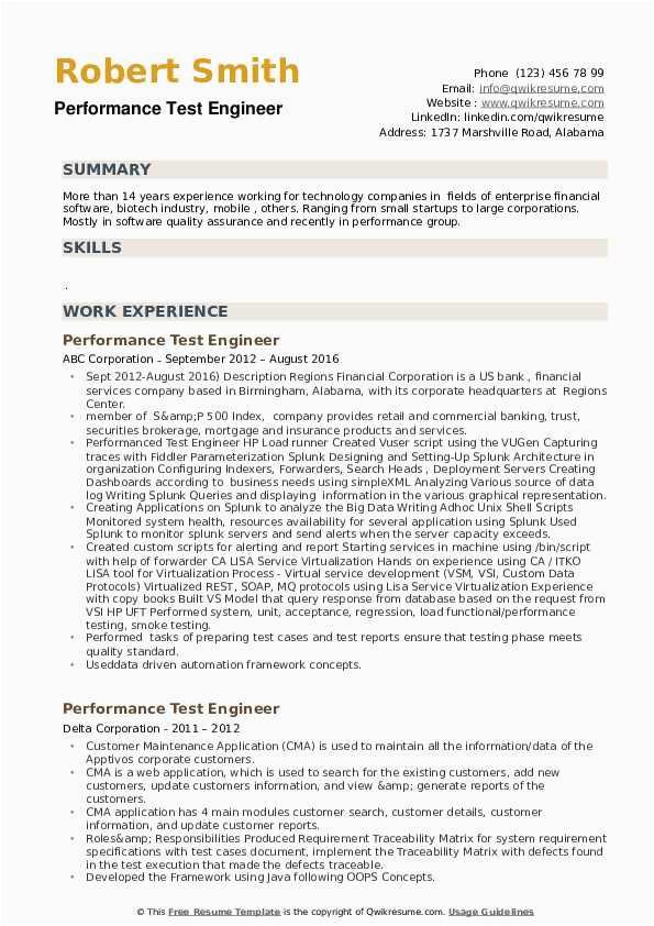 Performance Testing Using Jmeter Resume Sample Performance Test Engineer Resume Samples