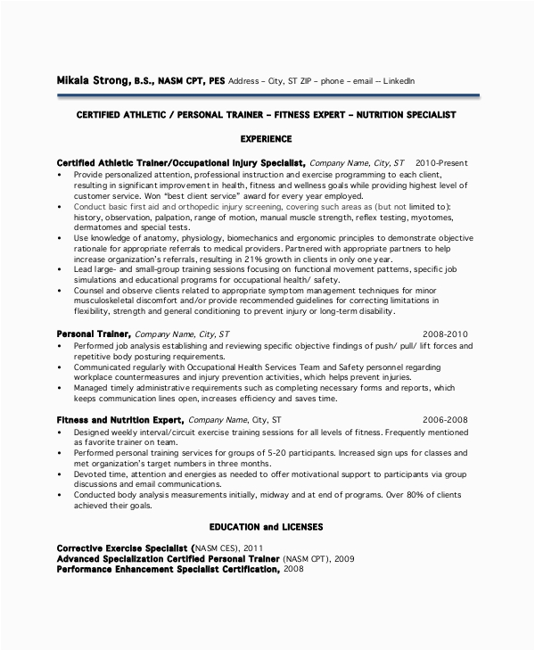 Personal Trainer Resume No Experience Sample Free 9 Sample Personal Trainer Resume Templates In Ms