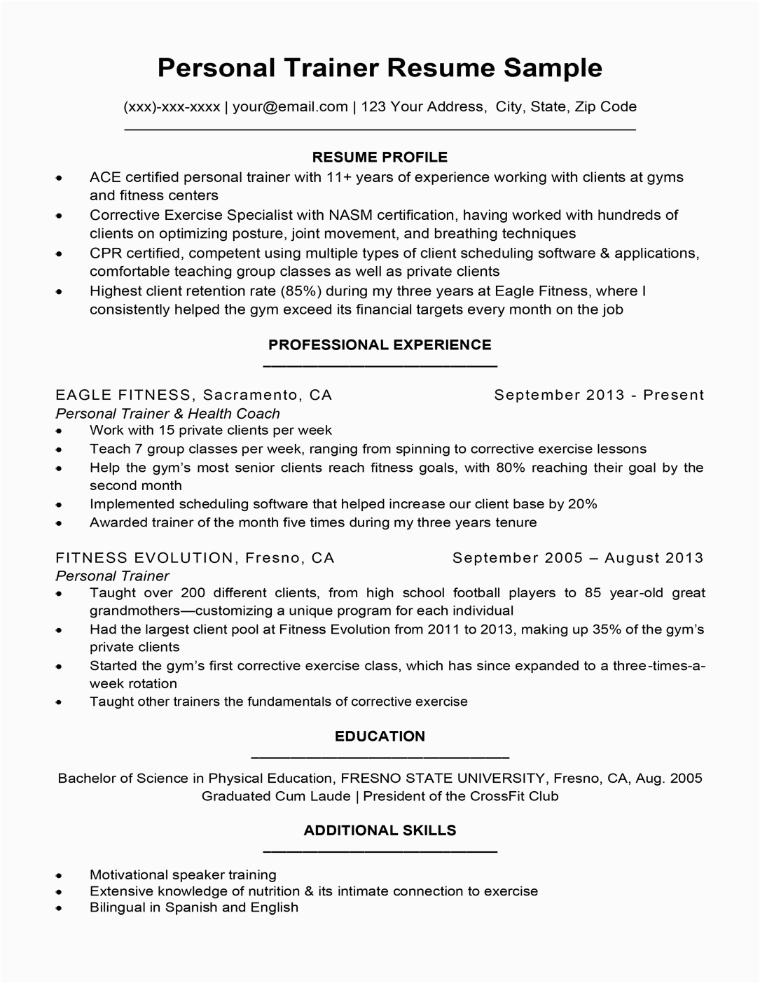 group fitness instructor resume with no experience