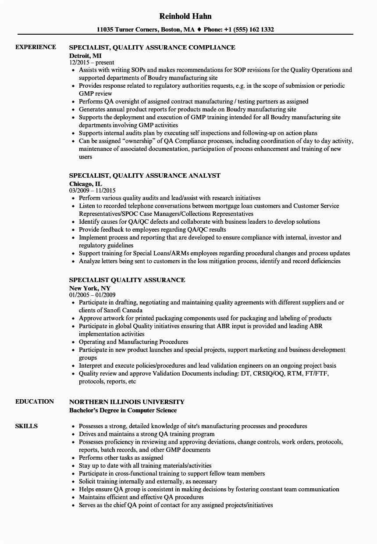 Pharmaceutical Resume Samples for Quality assurance Quality assurance Resume Example Resume Template Database