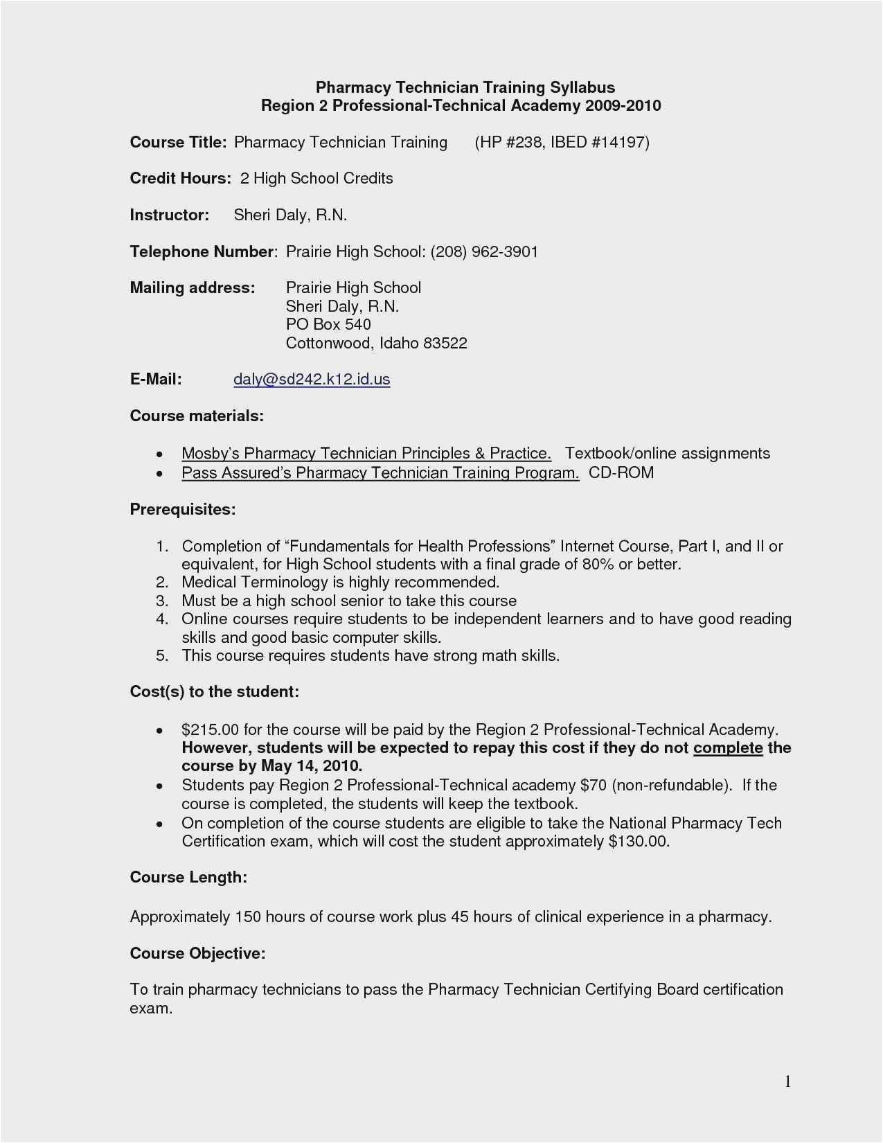 Pharmacy Technician Resume Sample for Student Free 58 Pharmacy Technician Resume Example