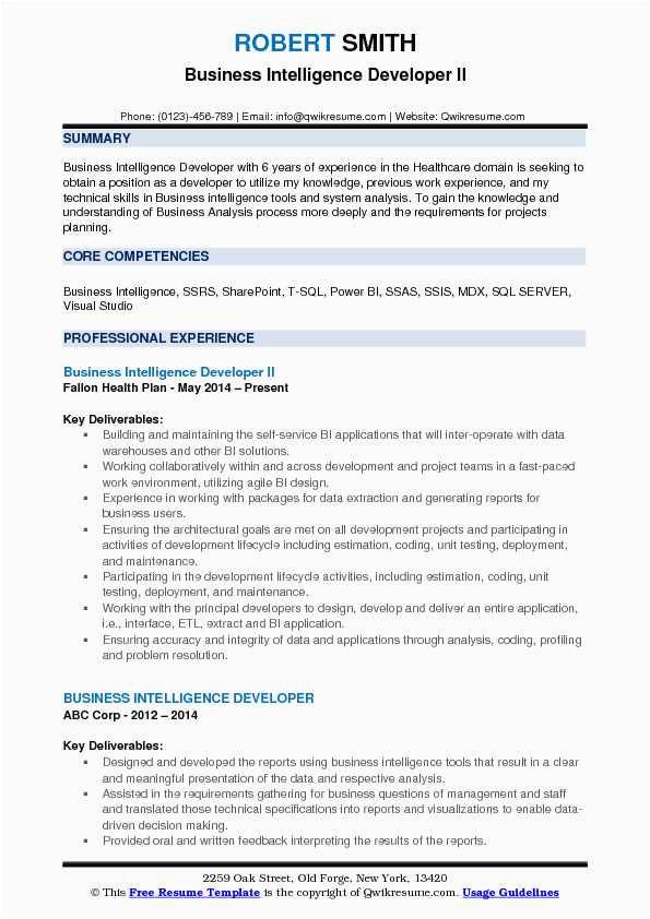 Power Bi Sample Resume for 2 Years Experience Business Intelligence Developer Resume Samples
