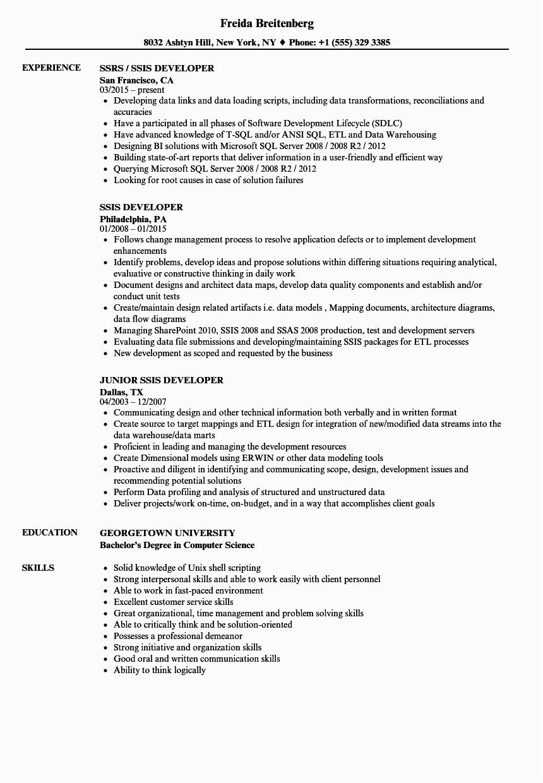 msbi developer resume for 2 years experience