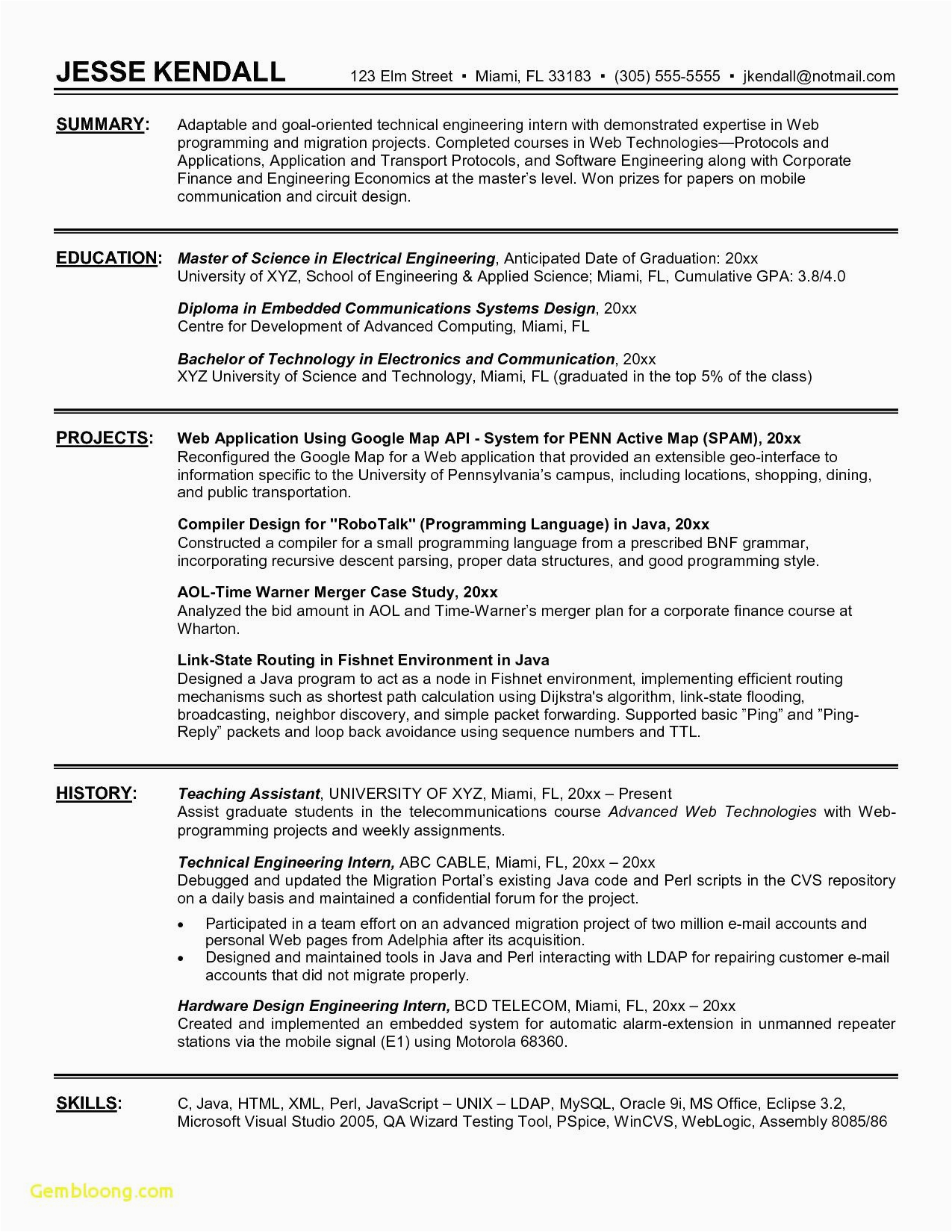9 10 sample of resume for electrical engineer