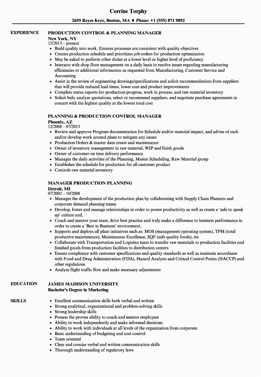 manager production planning resume sample