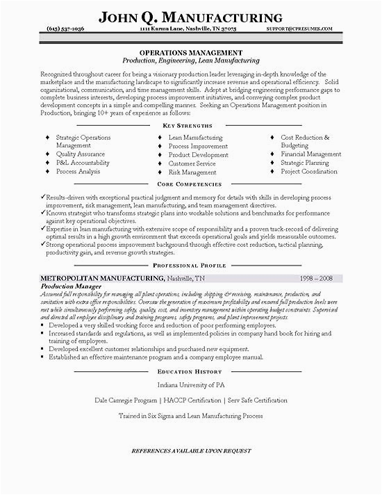 production planning manager resume pdf