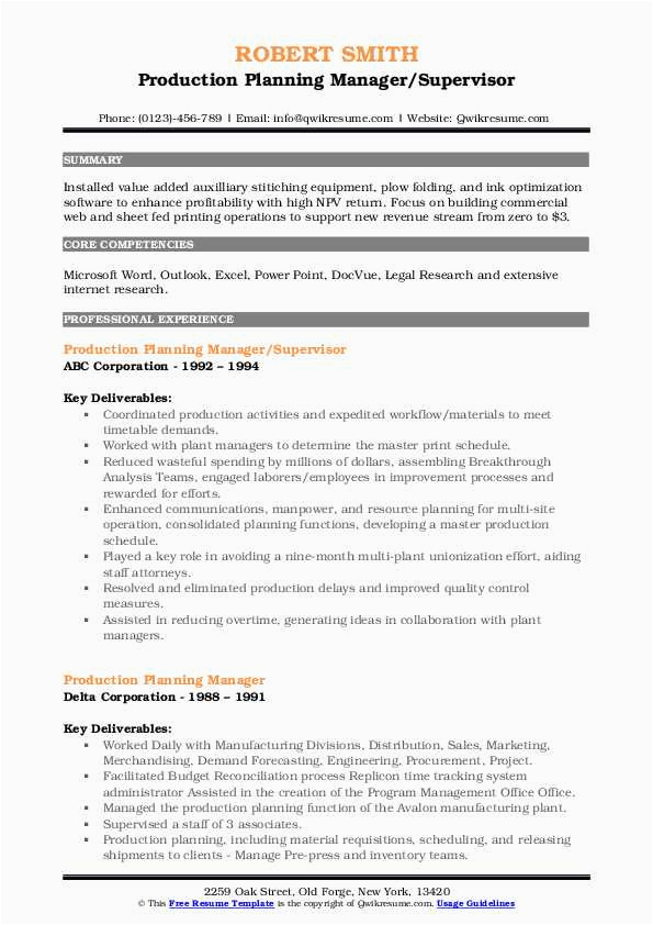production planning manager