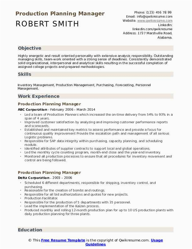 Production Planning and Control Manager Resume Sample Pdf Production Planning Manager Resume Samples