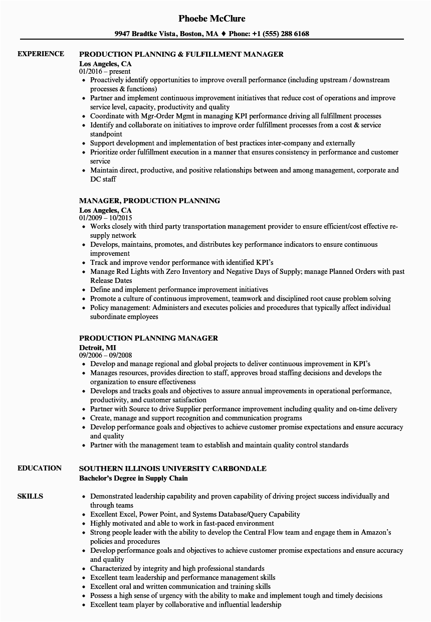 production planning resume sample