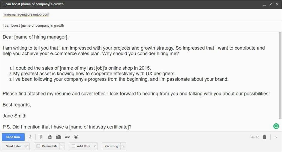job application email template for sending resume