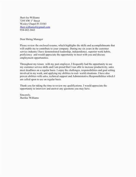 sample email to hiring manager