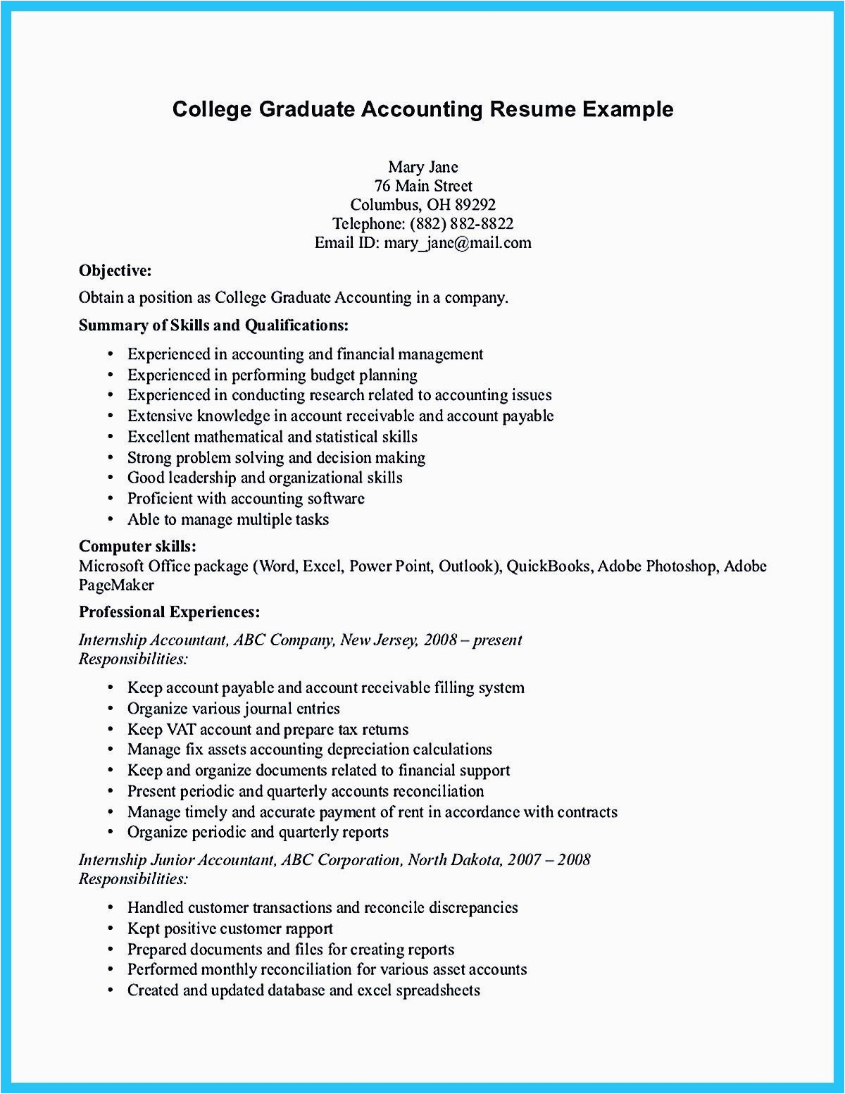example of resume for college student