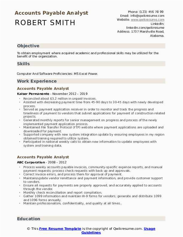 Sample Resume for Accounts Payable Analyst Accounts Payable Analyst Resume Samples