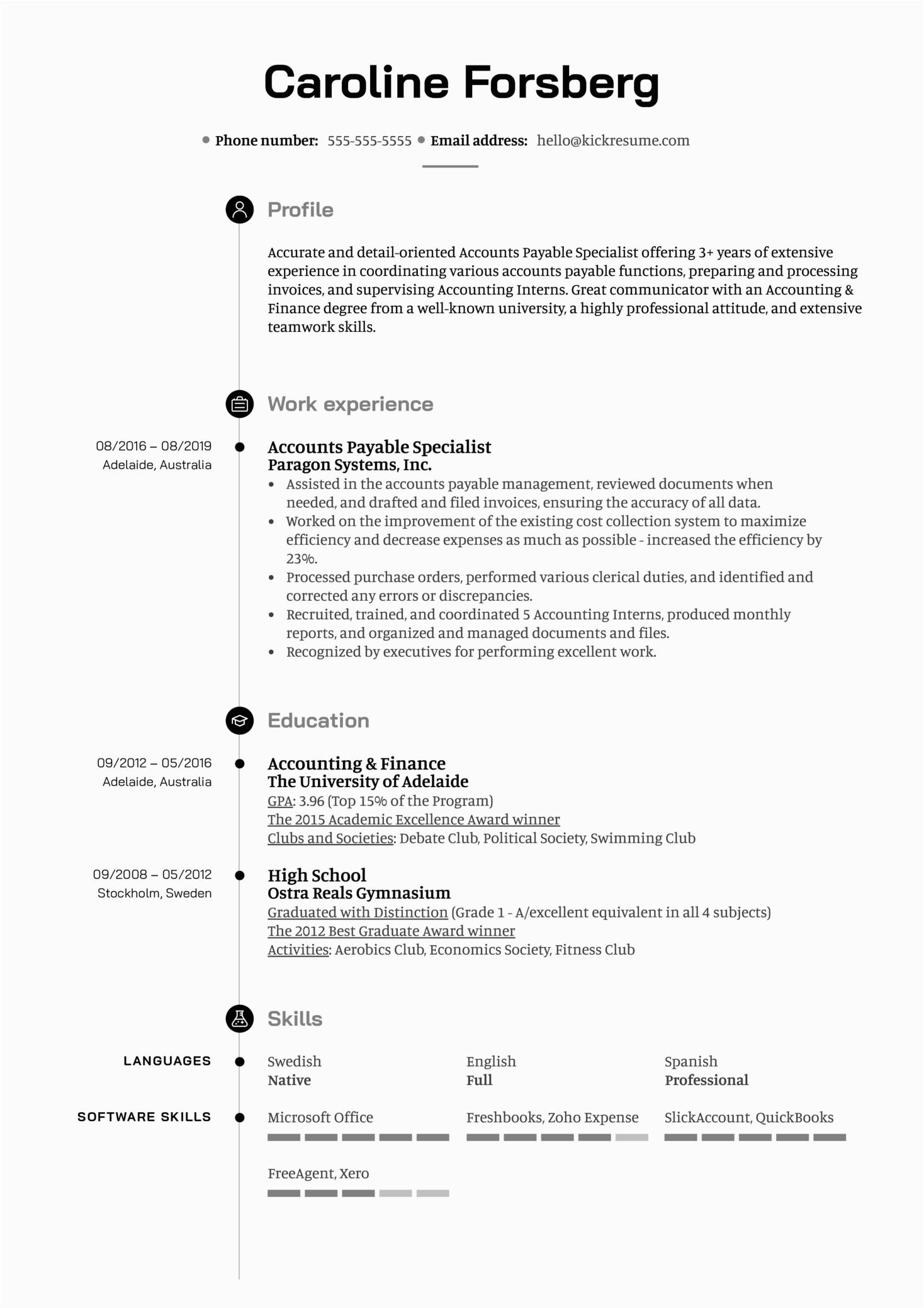 accounts payable specialist 1 resume sample