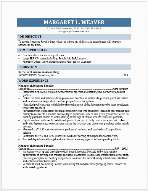 accounts payable supervisor resume share=google plus 1&nb=1