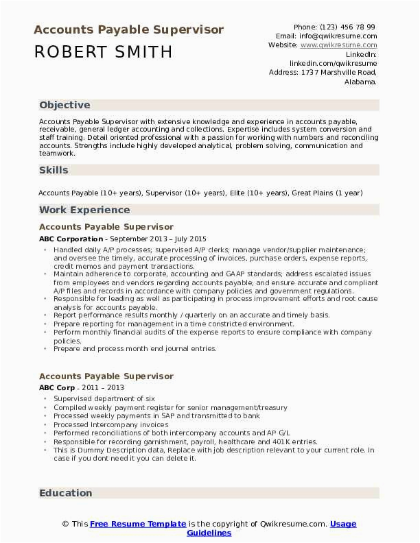 accounts payable supervisor
