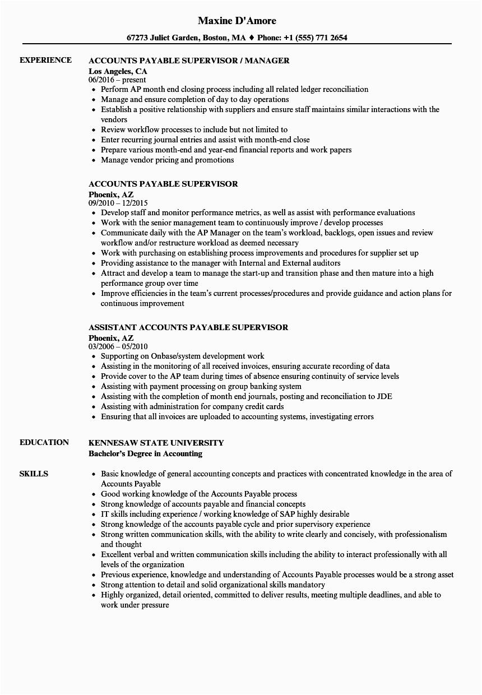 Sample Resume for Accounts Payable Supervisor Accounts Payable Supervisor Resume Samples