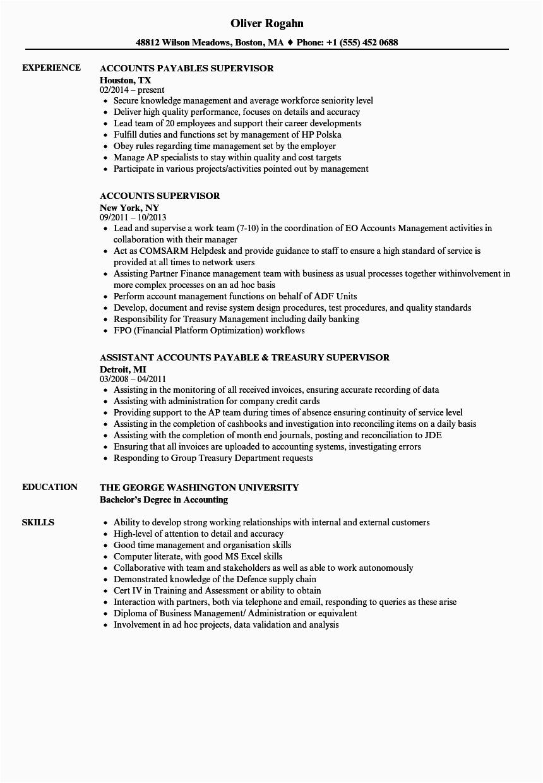 accounts supervisor resume sample