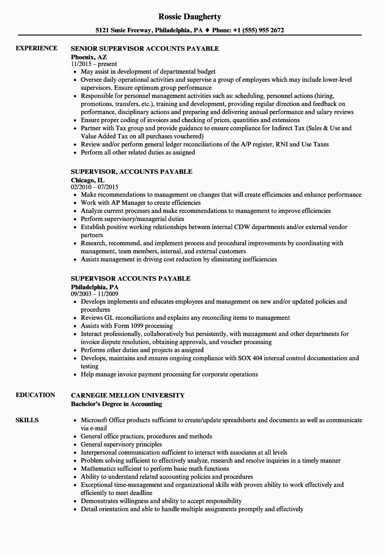 supervisor accounts payable resume sample